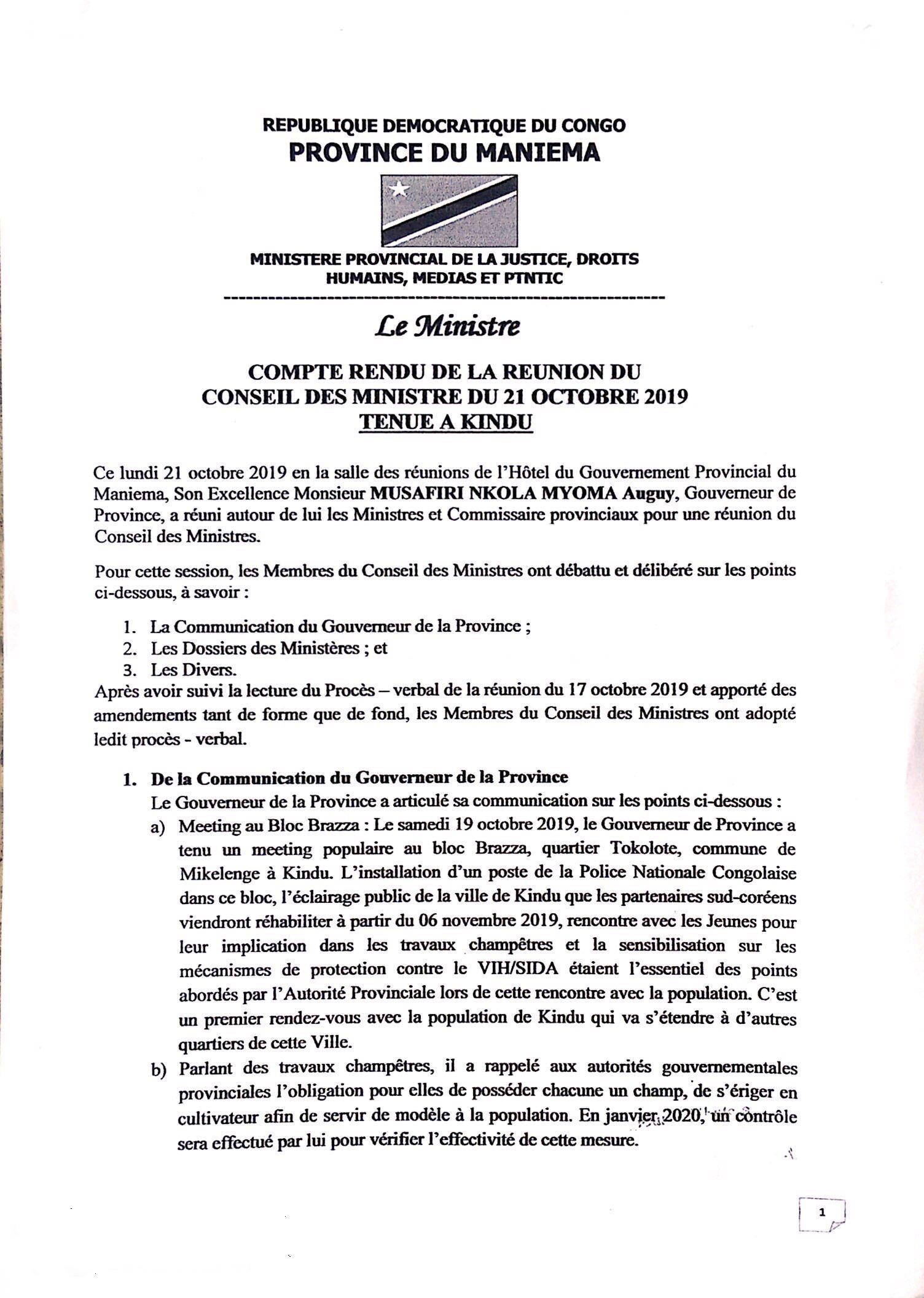 Compte rendu de la réunion du Conseil des Ministre du 21 octobre 2019 tenue à Kindu