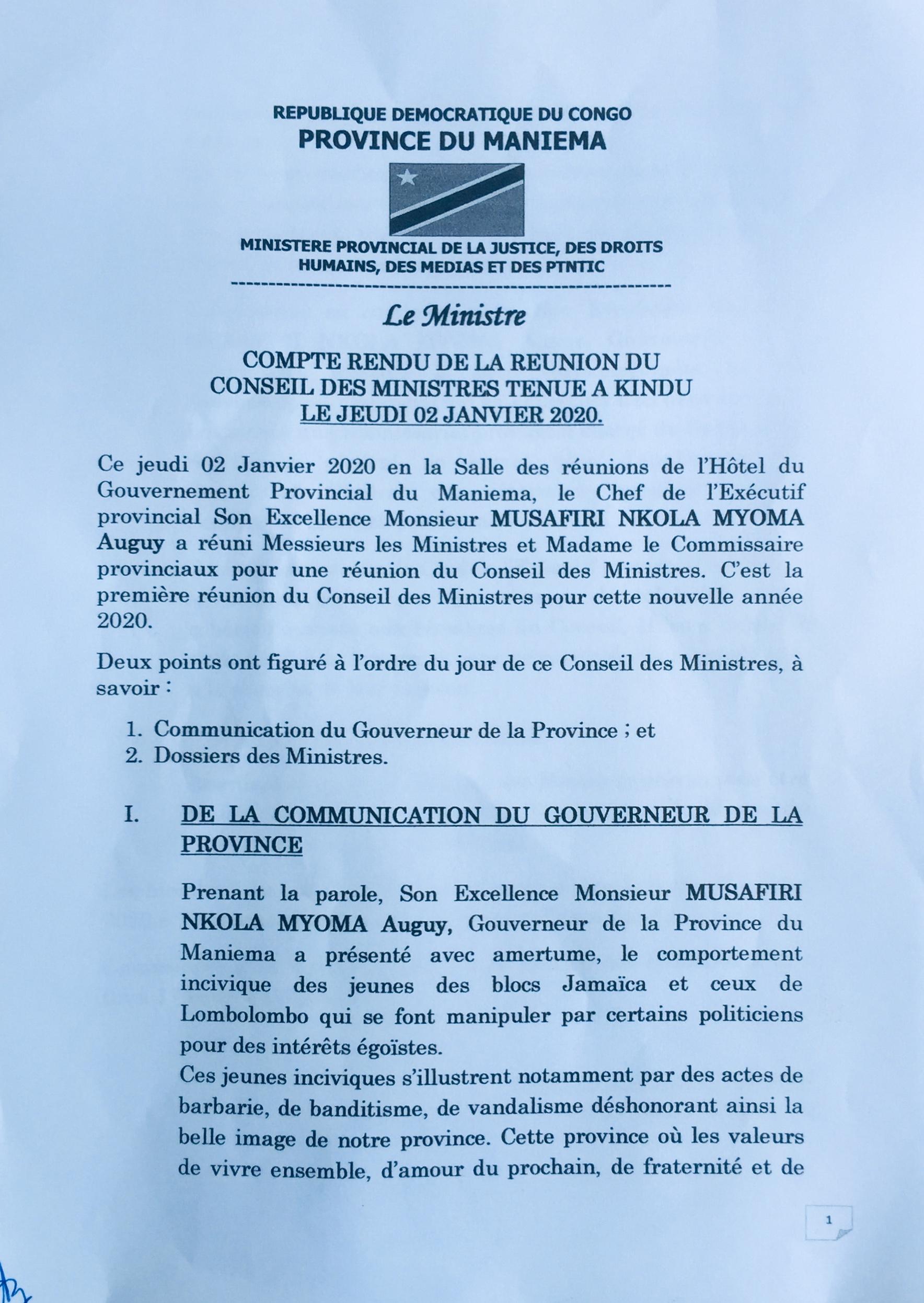 Compte rendu de la réunion du conseil des ministres tenue à Kindu le jeudi 02 janvier 2020